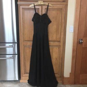 Vintage 1940's 1950's Black Taffeta Evening Gown